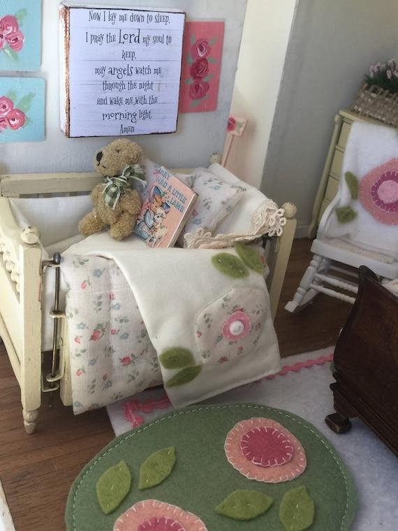 Beautiful Vintage dollhouse Crib and Custom Bedding-1:12 miniature scale