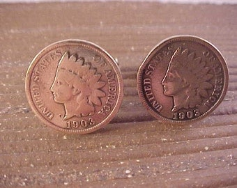 1903 Indian Head Penny Cuff Links