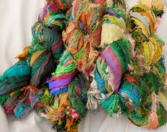 100 grams 1 skein recycled silk ribbon  knitting crochet craft embellishment yarn mixed shades of greens