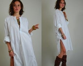 sale 25% rainy days sale Gypsy Cotton Dress Vintage 70s Sheer White Embroidered Ethnic India Sari Caftan Dress (m l)
