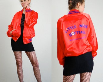 Satin Bomber Jacket Vintage Orange + Blue LITTLE MISS SOFTBALL Slouchy Satin Baseball Jacket (m l)