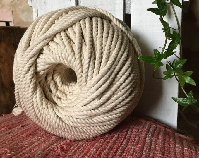 around 328 ft  of cotton rope for macrame , diameter 7 mm, made in france
