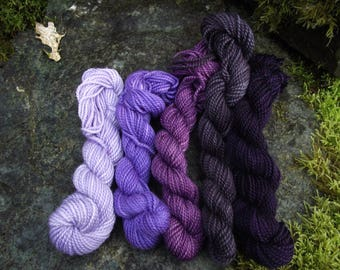 Yarn kit Merino wool Baby alpaca, Silk ,hand dyed DK sport yarn kit--Amethyst