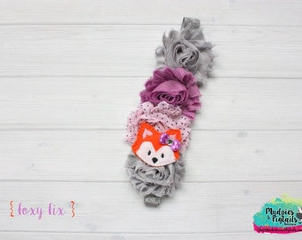 Baby headband or Planner band { Foxy Fix } grey, purple, lilac, fox elastic planner band, happy planner, filofax, kikkik, photography