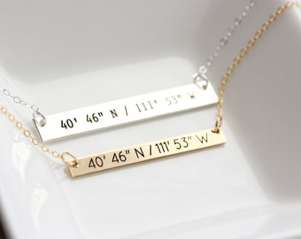 Custom Coordinates Necklace - Personalized Bar Necklace, Coordinate Bar Necklace, Personalized gift for Her, Bar Necklace, Engraved Necklace