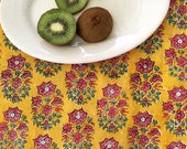 Hand Block Printed Fabric from India - Floral Cotton Print - Bohemian Style - by the Yard