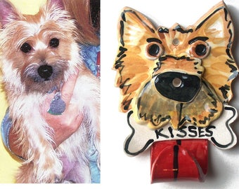 Custom handmade and personalized pottery leash hook from a photograph of your dog by artzfolk