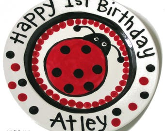 "Happy Birthday 7"" or 10"" Big red ladybug with dots personalized Plate custom ceramic"