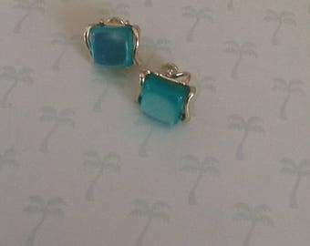 Vintage Aqua Thermoset Clip Earrings