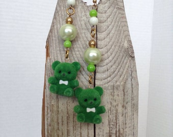 Green teddy bear earrings