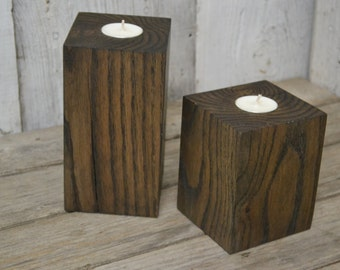 Tea Light Candle Holders, Oak Blocks Stained Walnut, Beautiful Craftsmanship, Hardwood, Heavy, Decorative