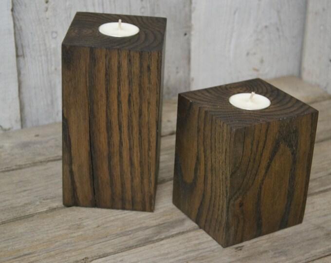Tea Light Candle Holders, Oak Blocks Stained Walnut, Beautiful Craftsmanship, Hardwood, Heavy, Decorative