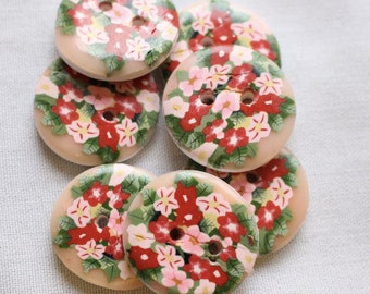 Handcrafted Floral Buttons 1 inch button No. 341