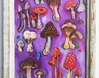 Folk Art Mushroom Painting in a Handmade Rustic Frame