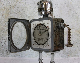 Assemblage Art ROBOT Industrial Decor Major Flexo- Recycled Materials- Salvaged Parts- Found Object Sculpture