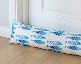 Draught Excluder Blue Newlyn Fish Fabric Scandi Seaside Long