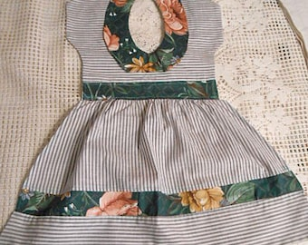 Sassy SUNDRESS TEA TOWEL Gray White Ticking, Peter Pan Collar Roses & Green Bands Trim, Darling Handmade Kitchen Wall Hanger All Cotton