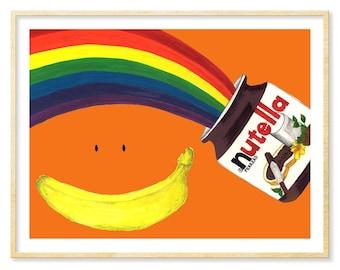 Nutella Lover, Nutella Print, Whimsical Print, 8.5x11, 11x14, Illustration Print, Food Art, Kitchen Print, Rainbow, Orange Art, Funny Art