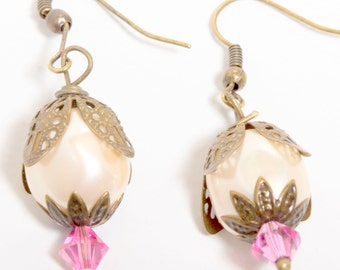 Antiqued Bronze Earrings with Vintage Pearls and Swarovski Crystals,Pearl Earrings, Pink Crystal Earrings, Vintage Style Earrings