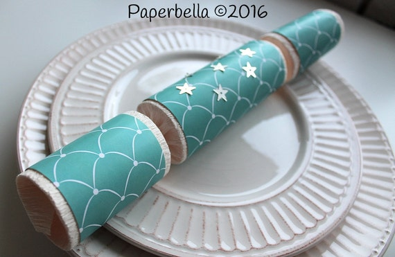 Fill Your Own Party Crackers Wedding Teal Blue White Scalloped Fish Scale Mermaid Party Popper, Personalize Monogram and a Paper Rosette