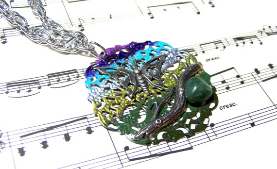 Hand Painted Boho Butterfly Filigree Pendant Top Selling Jewelry Wearable Art  Silver Gifts for Women