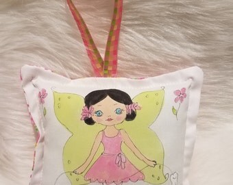 Tooth Fairy Pillow - Girl Fairy with black hair  - Hand Painted -  Add Name FREE