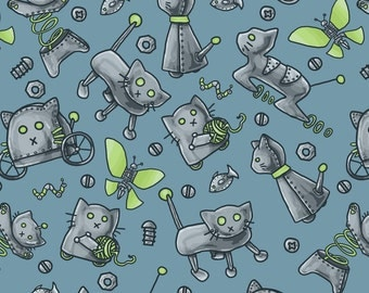 Robot Cats Fabric - Robot Cats By amber_morgan - Robot Cats Novelty Blue Cotton Fabric By The Yard With Spoonflower
