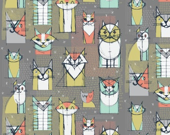 Cubist Cats Fabric - Cubist Cat Study By Friztin - Mid Century Modern Cubism Cat Cotton Fabric By The Yard With Spoonflower