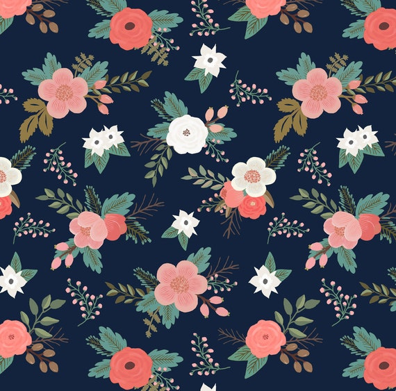 Navy floral fabric sweet bouquets in navy and coral by for Floral nursery fabric