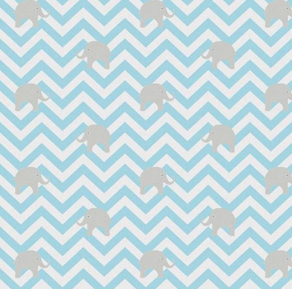 Light blue chevron fabric baby elephants in aqua by for Baby nursery fabric yard
