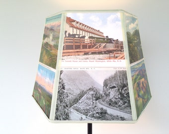 NEW, Mount Washington Mountains Lamp Shade, Lampshade Vintage Postcards, Holiday Present, Guy Gift, White Mountains New Hampshire, Handmade!