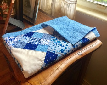 Hand-Stitched Baby Quilt - Baby Blues