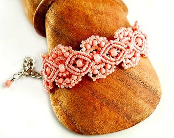 Pink Coral Macrame Bracelet - Micro Macrame Bracelet - Lacy - Lacey - Macrame Jewelry - Hand Tied Lace - Beaded Macrame - Pink Bracelet