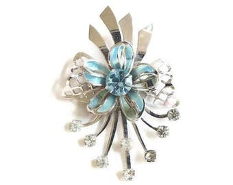 Retro Brooch with Blue Enamel Bow and Blue & Clear Rhinestones Vintage Mid-Century