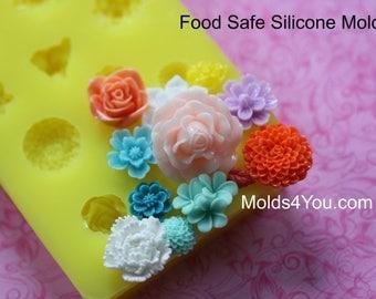 Silicone Mum Carnation Mold Resin Mold Fondant Sugar Wax Soap Baking Polymer Clay Rose Mold DIY Cabochon Mold Mum Roses