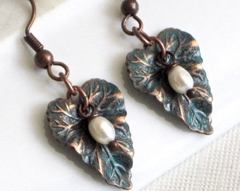 Small Patina Leaf Earrings - Teal and Copper,  Leaf Jewelry, Nature Jewelry