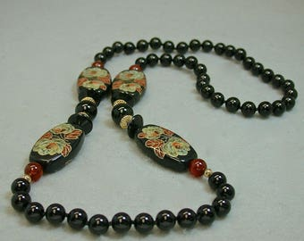 Vintage Black Onyx Vintage Japanese Tensha Bead Hand Knotted Necklace,Red Gold Flower Tensha Bead, Vintage Carnelian Beads- GIFT WRAPPED