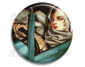 "Vintage Art Deco Lempicka Self Portrait Pocket Mirror, Magnet or Pinback Button - Favors - 2.25""- MR375"