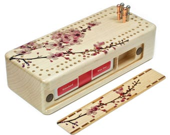 Cherry Blossom Cribbage Board