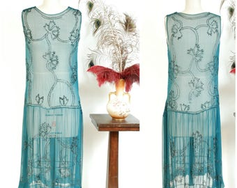 Vintage 1920s Dress - Sheer Turquoise Blue Silk Chiffon 20s Dress with Winding Black Floral Beading and Drop Waist