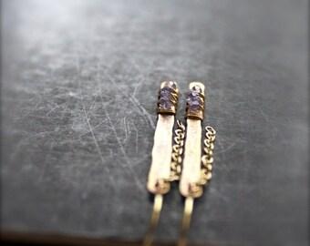 ON SALE Iolite Stick Chain Dangle Earrings - Oxidized Gold Brass, Wire Wrap Bar, Metalwork, Long Gemstone Earrings, Boho Jewellery No.2
