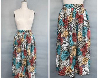 1980s multi color animal print mid length skirt
