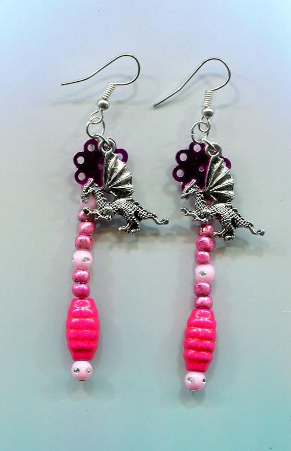 dragon earrings dragon jewelry pink earrings pink jewelry fantasy jewelry bead drop dangles handmade fantasy dragons charm earrings