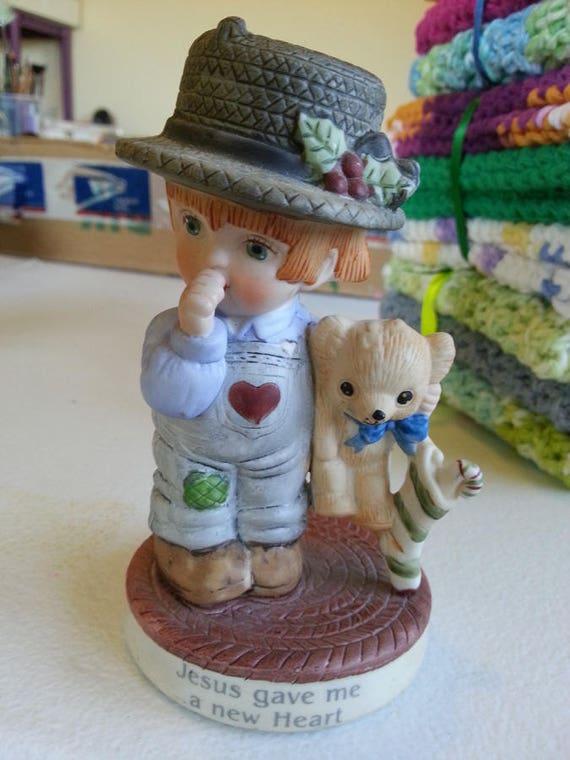 vintage porcelain boy bisque country boy figurine teddy bear 1988 ceramic decoration Christmas