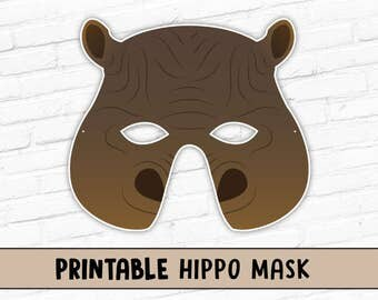 Hippopotamus Printable Mask | Hippo Kids Party Halloween Costume Mask | Instant Download