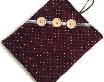 Ipad mini sleeve, padded burgundy corduroy, dots, wodden buttons ribbon, ereader case, bridesmaid gift, small tablet pouch, men women unisex