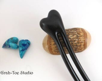 Ebony Wood Hair Fork, A2 Heart Hairfork, Hair Stick, Gift for her, Man Bun,Grahtoe Studio,Hairstick,hairforks,Wood Hair Sticks, Wooden forks