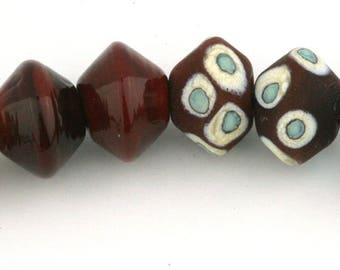 Mixed Pairs Bicone Handmade Glass Lampwork Beads (8 Count) by Pink Beach Studios (1576)