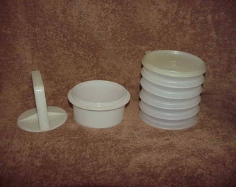 Vintage--Tupperware--Hamburger Press & 5 Keepers--8 Piece Set--Patty Maker--Storage Containers