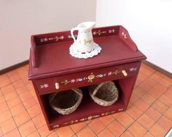 Miniature dollhouse cupboard in twelve scale - painted furniture